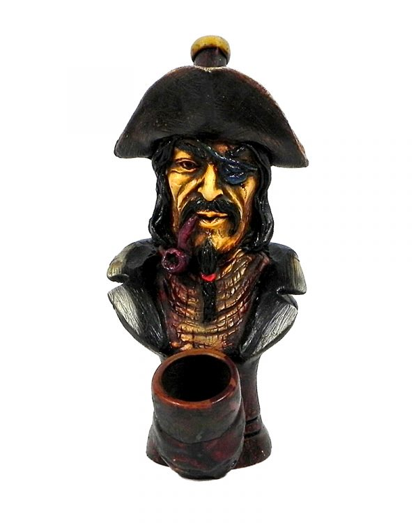 "Handcrafted medium-sized tobacco smoking hand pipe of ""Black Beard"" pirate with a captain hat and eye patch."