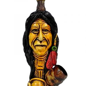 "Handcrafted medium-sized tobacco smoking hand pipe of ""Geronimo"" Native American Indian."