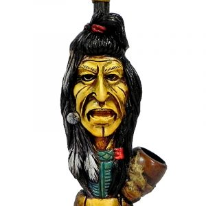 "Handcrafted medium-sized tobacco smoking hand pipe of ""Sitting Bull"" Native American Indian."