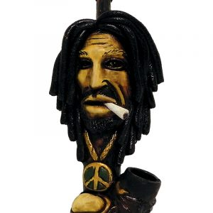 Handcrafted medium-sized tobacco smoking hand pipe of smoking Bob wearing green and gold peace sign necklace.