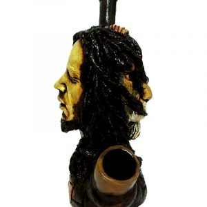 Handcrafted medium-sized tobacco smoking hand pipe of Bob connected to a lion.