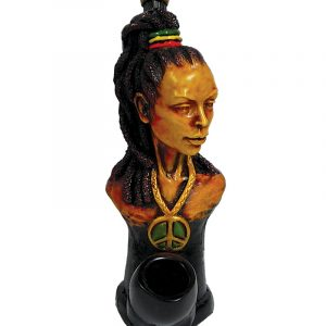 "Handcrafted medium-sized tobacco smoking hand pipe of ""Laquisha"" Rasta woman with a high ponytail and peace sign necklace."