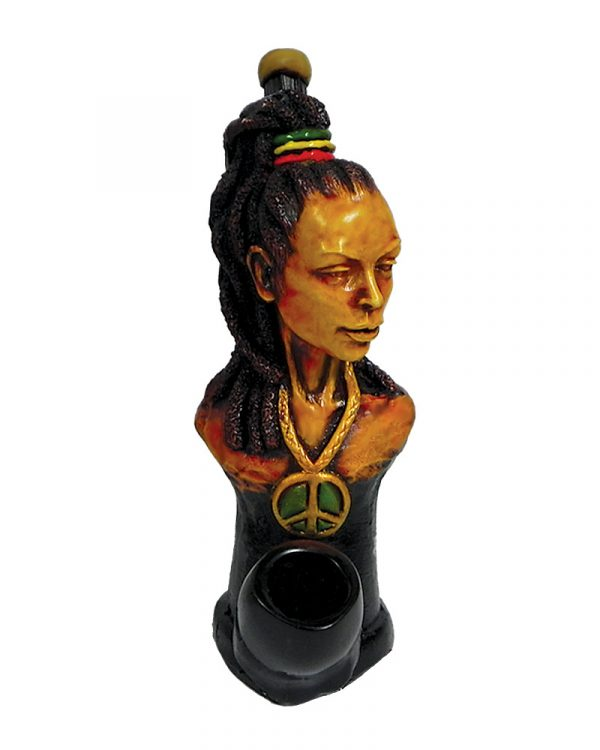 """Handcrafted medium-sized tobacco smoking hand pipe of """"Laquisha"""" Rasta woman with a high ponytail and peace sign necklace."""