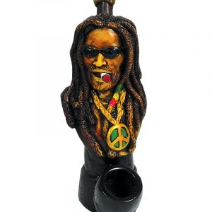"Handcrafted medium-sized tobacco smoking hand pipe of ""Dread Dogg"" Rasta man with long dreads, sunglasses, and a peace sign necklace."