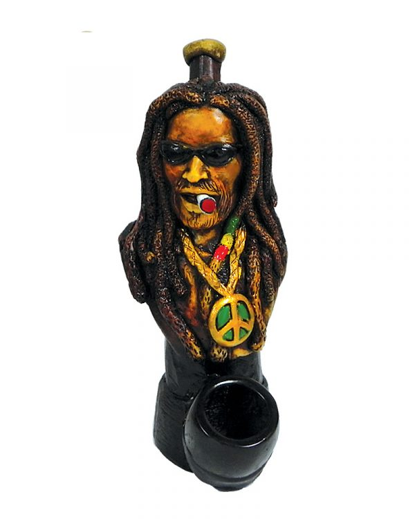 """Handcrafted medium-sized tobacco smoking hand pipe of """"Dread Dogg"""" Rasta man with long dreads, sunglasses, and a peace sign necklace."""