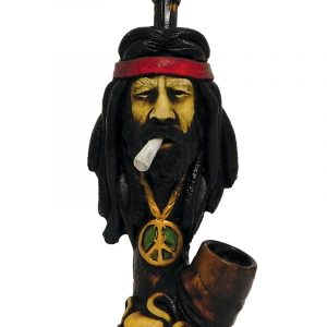 "Handcrafted medium-sized tobacco smoking hand pipe of ""Jeffy"" stoner dude with a headband and peace sign necklace."