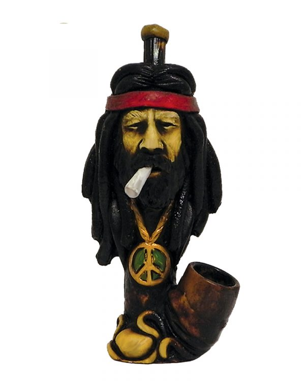 """Handcrafted medium-sized tobacco smoking hand pipe of """"Jeffy"""" stoner dude with a headband and peace sign necklace."""