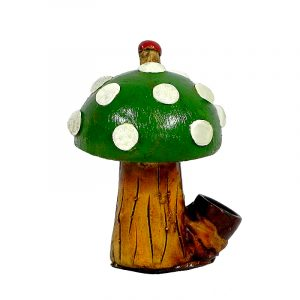 Handcrafted medium-sized tobacco smoking hand pipe of a short Amanita magic mushroom with white spots in green color.