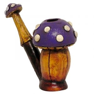 Handcrafted medium-sized tobacco smoking hand pipe of a short Amanita magic mushroom with white spots in dark purple color.