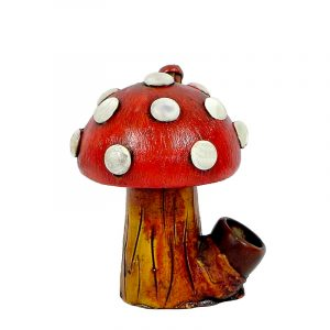 Handcrafted medium-sized tobacco smoking hand pipe of a short Amanita magic mushroom with white spots in red color.