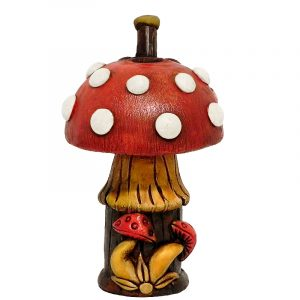 Handcrafted medium-sized tobacco smoking hand pipe of a red Amanita magic mushroom with white spots. Pack the bowl on its cap.