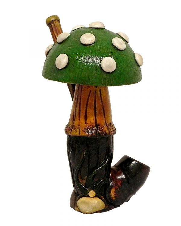 Handcrafted medium-sized tobacco smoking hand pipe of a big Amanita magic mushroom with white spots in green color.