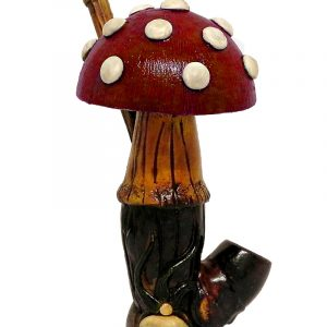 Handcrafted medium-sized tobacco smoking hand pipe of a big Amanita magic mushroom with white spots in red color.