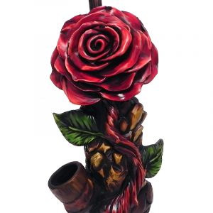 Handcrafted medium-sized tobacco smoking hand pipe of a red rose flower.