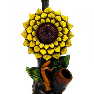 Handcrafted medium-sized tobacco smoking hand pipe of a yellow sunflower.