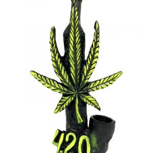 """Handcrafted medium-sized tobacco smoking hand pipe of a hemp leaf with a """"4.20"""" sign in green color."""