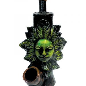Handcrafted medium-sized tobacco smoking hand pipe of a green female face surrounded by leaves.