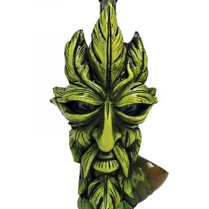 Handcrafted medium-sized tobacco smoking hand pipe of a green leaf man face with googly eyes.