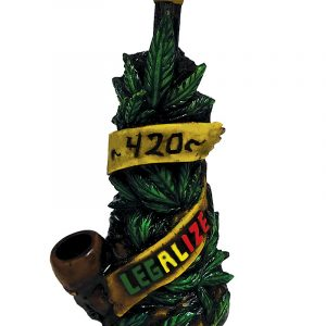 """Handcrafted medium-sized tobacco smoking hand pipe of multiple green hemp leaves with a """"420"""" and """"LEGALIZE"""" sign in Rasta colors."""
