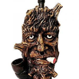 Handcrafted medium-sized tobacco smoking hand pipe of a brown smoking tree man face.