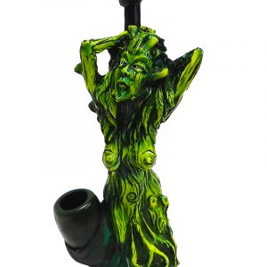 Handcrafted medium-sized tobacco smoking hand pipe of a green tree woman.