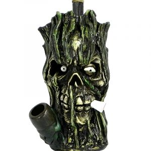 "Handcrafted medium-sized tobacco smoking hand pipe of a ""wicked"" smoking tree man face."