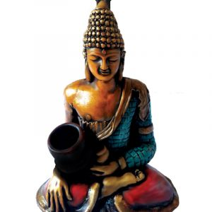 Handcrafted medium-sized tobacco smoking hand pipe of a sitting gold Tibetan Buddha holding a bowl.