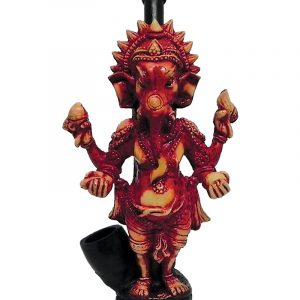 Handcrafted medium-sized tobacco smoking hand pipe of a red Ganesha elephant deity.