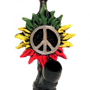 Handcrafted medium-sized tobacco smoking hand pipe of a peace sign symbol with flower petals in Rasta colors.