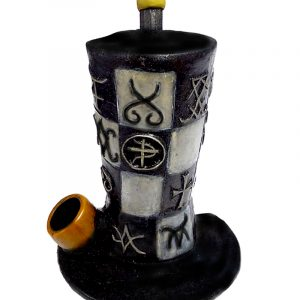Handcrafted medium-sized tobacco smoking hand pipe of a black and white checkered top hat with symbols.