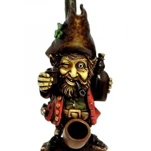 Handcrafted medium-sized tobacco smoking hand pipe of a drunk Irish leprechaun drinking a whiskey jug.