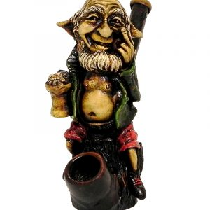 Handcrafted medium-sized tobacco smoking hand pipe of a drunk elf drinking a beer mug.