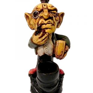 Handcrafted medium-sized tobacco smoking hand pipe of a smoking elf professor wearing a monocle and holding a book.