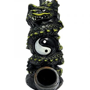 Handcrafted medium-sized tobacco smoking hand pipe of a spiraled green dragon with a yin yang symbol.