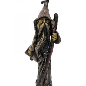 Handcrafted medium-sized tobacco smoking hand pipe of a standing magic wizard in gray robe and hat with long beard and wooden cane.
