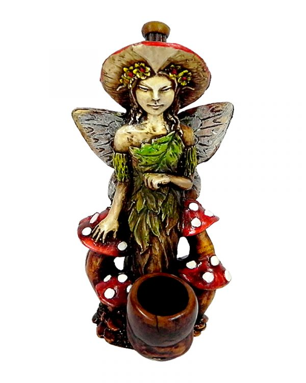 Handcrafted medium-sized tobacco smoking hand pipe of a fairy girl in green leaf dress with red mushrooms.