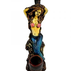 Handcrafted medium-sized tobacco smoking hand pipe of a sexy mermaid with pink seashell bra and blue fin.