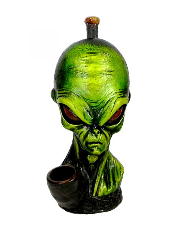 Handcrafted medium-sized tobacco smoking hand pipe of a green alien head.