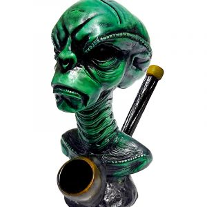 Handcrafted medium-sized tobacco smoking hand pipe of a green reptilian alien head.