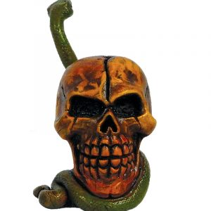 Handcrafted medium-sized tobacco smoking hand pipe of a skull with a green snake mouthpiece.