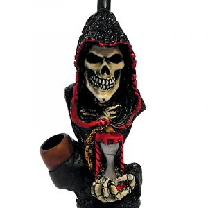 Handcrafted medium-sized tobacco smoking hand pipe of a hooded grim reaper death skull holding an hour glass.