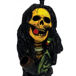 Handcrafted medium-sized tobacco smoking hand pipe of a smoking Bob skull with Rasta dreads.