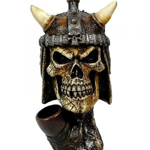 Handcrafted medium-sized tobacco smoking hand pipe of a Viking skull with a horn helmet.