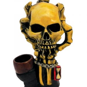 Handcrafted medium-sized tobacco smoking hand pipe of a skeleton claw holding a skull with an hour glass.