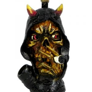 Handcrafted medium-sized tobacco smoking hand pipe of a smoking hooded grim reaper death skull with horns.