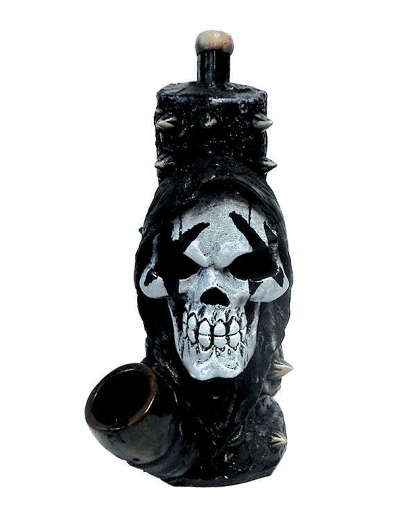 Handcrafted medium-sized tobacco smoking hand pipe of a black and white hooded grim reaper death skull with spikes.