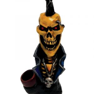 Handcrafted medium-sized tobacco smoking hand pipe of a punk skull with a mohawk, piercing, and chain.