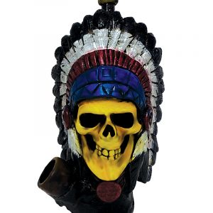 Handcrafted medium-sized tobacco smoking hand pipe of a Native American Indian chief skull wearing a feather headdress.