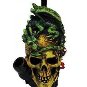 Handcrafted medium-sized tobacco smoking hand pipe of a skull with a green dragon on its head and red mushrooms.