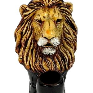 Handcrafted medium-sized tobacco smoking hand pipe of a lion head.